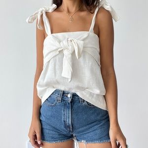NEW J.O.A. linen tie front woven top S
